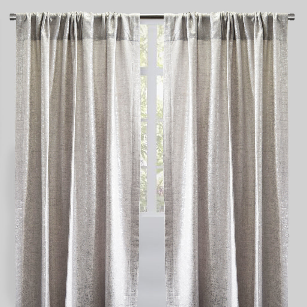 Axel Set of 2 Metallic Linen Look Curtain Panels | Size 54X96 | Color Ivory