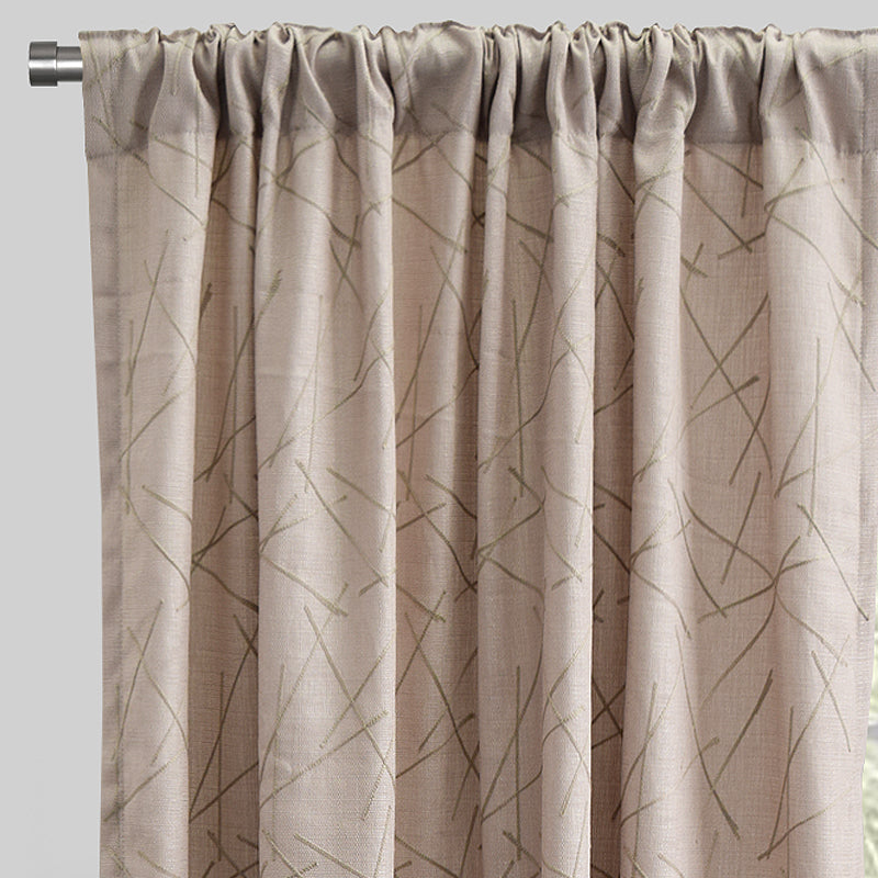 Bailey Set of 2 Textured Curtain Panels | Available Sizes 54X84 & 54X96 | Color Beige/Flax