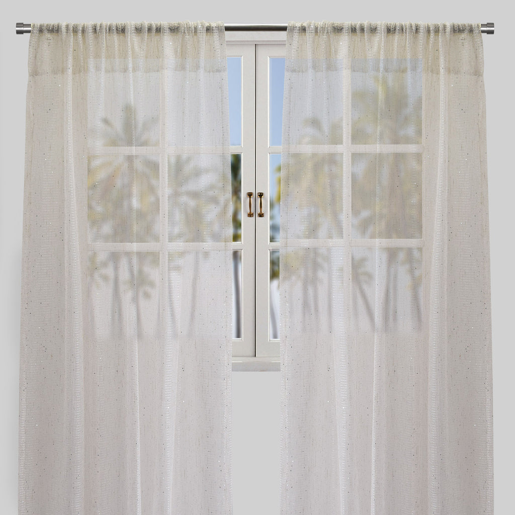 Balia Set of 2 Sheer Curtain Panels | Size 54X96 | Color Ivory