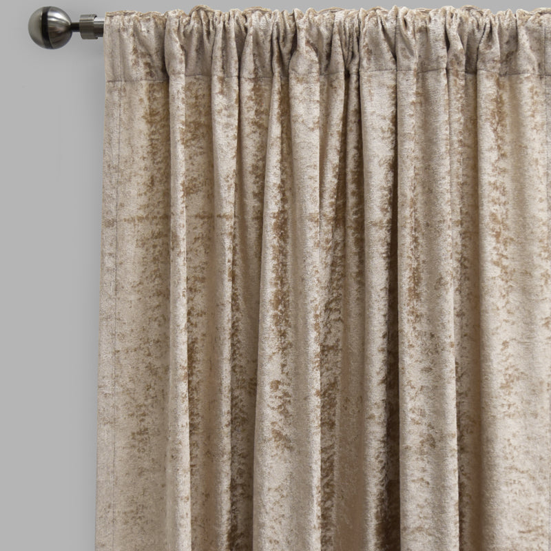 Calisi Set of 2 Crushed Velvet Curtain Panels | Size 54X84 | Color Beige