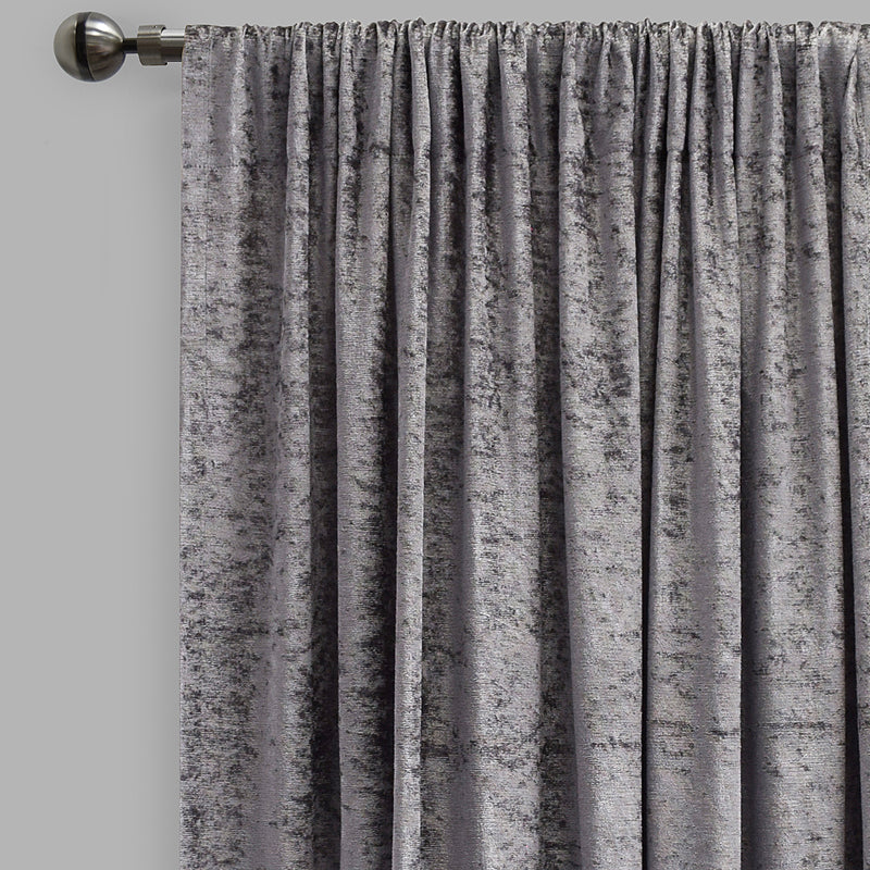 Calisi Set of 2 Crushed Velvet Curtain Panels | Available Sizes 54X84 & 54X96 | Color Silver