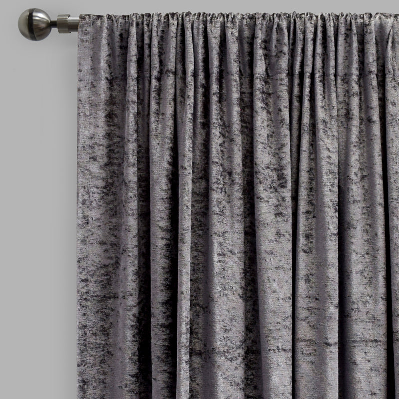 Calisi Set of 2 Crushed Velvet Curtain Panels | Size 54X84 | Color Gunmetal