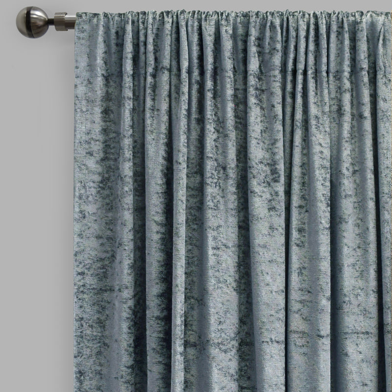 Calisi Set of 2 Crushed Velvet Curtain Panels | Available Sizes 54X84 & 54X96 | Color Denim