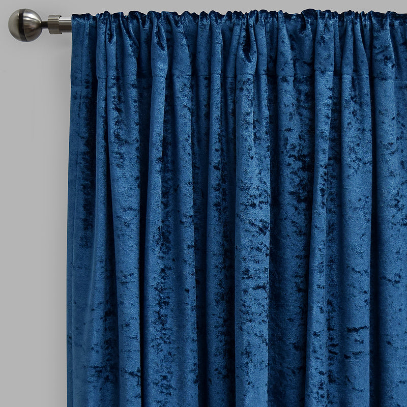 Calisi Set of 2 Crushed Velvet Curtain Panels | Available Sizes 54X84 & 54X96 | Color Navy