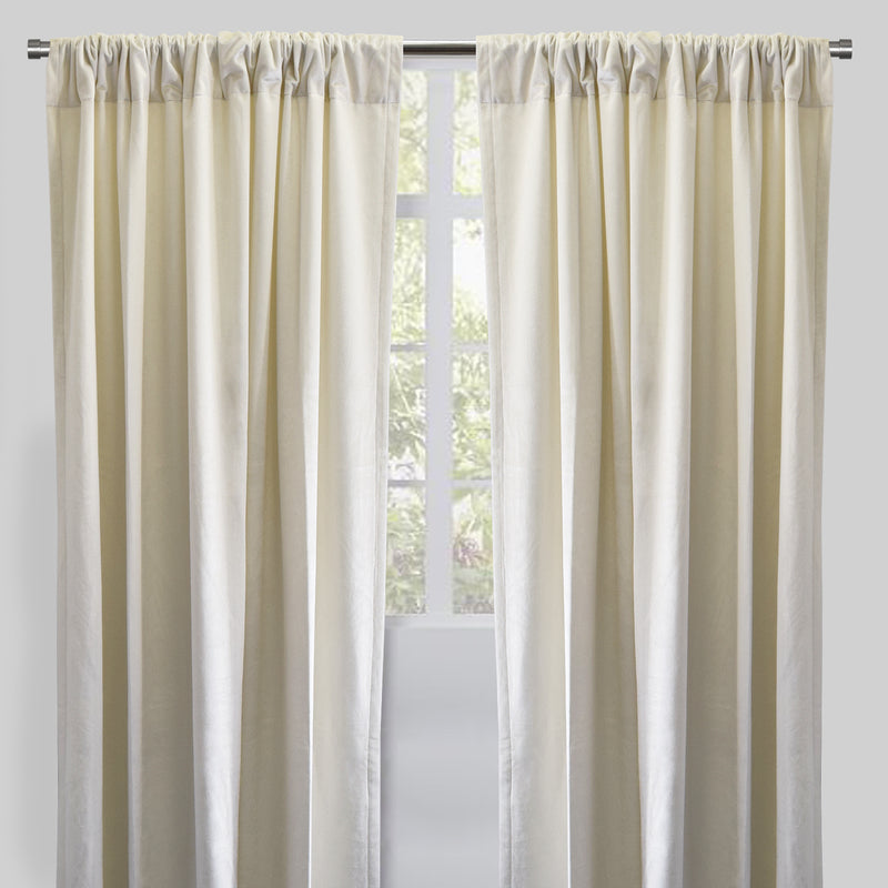 Calypso Set of 2 Velvet Curtain Panels | Available Sizes 54X84 & 54X96 | Color Ivory
