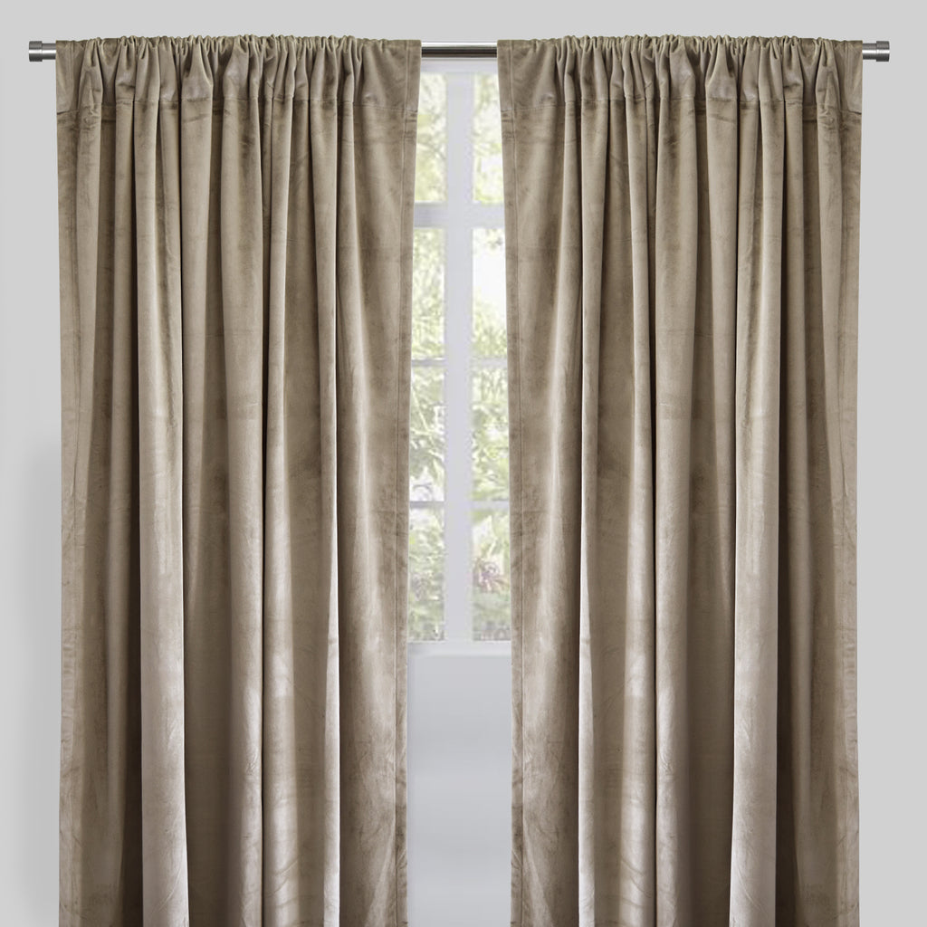 Calypso Set of 2 Velvet Curtain Panels | Available Sizes 54X84 & 54X96 | Color Beige