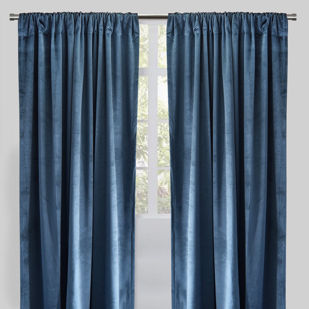 Calypso Set of 2 Velvet Curtain Panels | Available Sizes 54X84 & 54X96 | Color Ocean