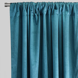 Calypso Set of 2 Velvet Curtain Panels | Available Sizes 54X96 | Color Peacock
