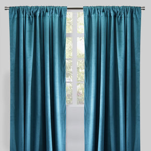 Calypso Set of 2 Velvet Curtain Panels | 54X96 | Color Peacock