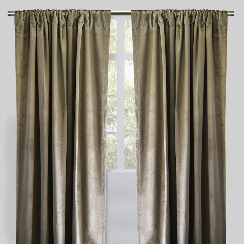 Calypso Set of 2 Velvet Curtain Panels | Available Sizes 54X84 & 54X96 | Color Pewter