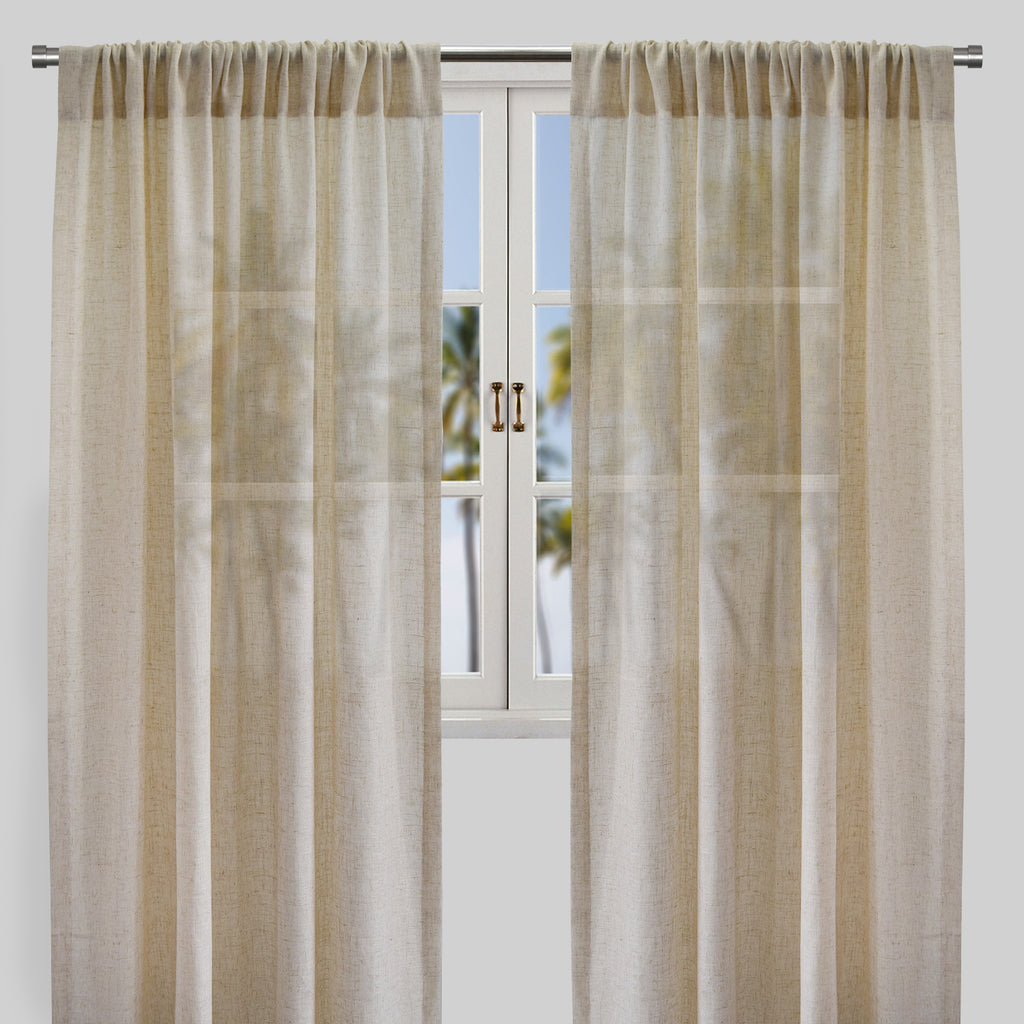 Canyon Set of 2 Linen Look Sheer Curtain Panels | Size 54X96 | Color Natural