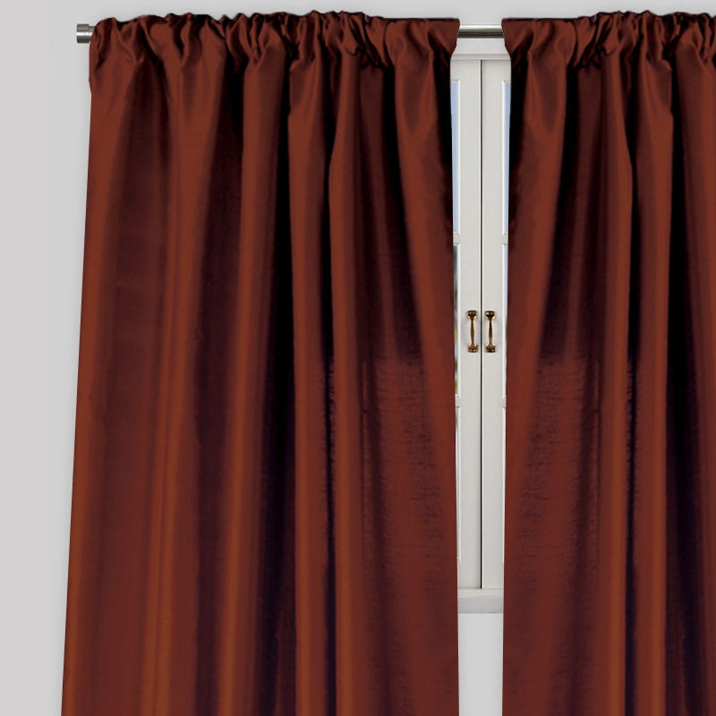 Caprice Set of 2  Solid Curtain Panels | Size 54X96 | Color Cinnamon