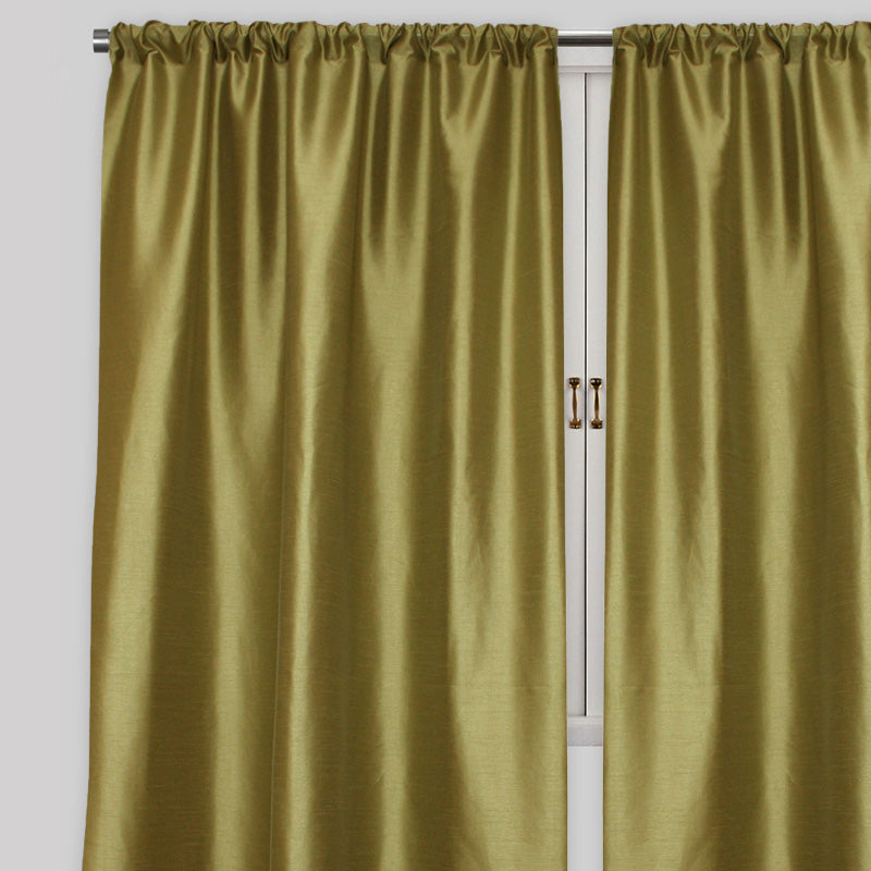 Caprice Set of 2  Solid Curtain Panels | Size 54X96 | Color Kiwi