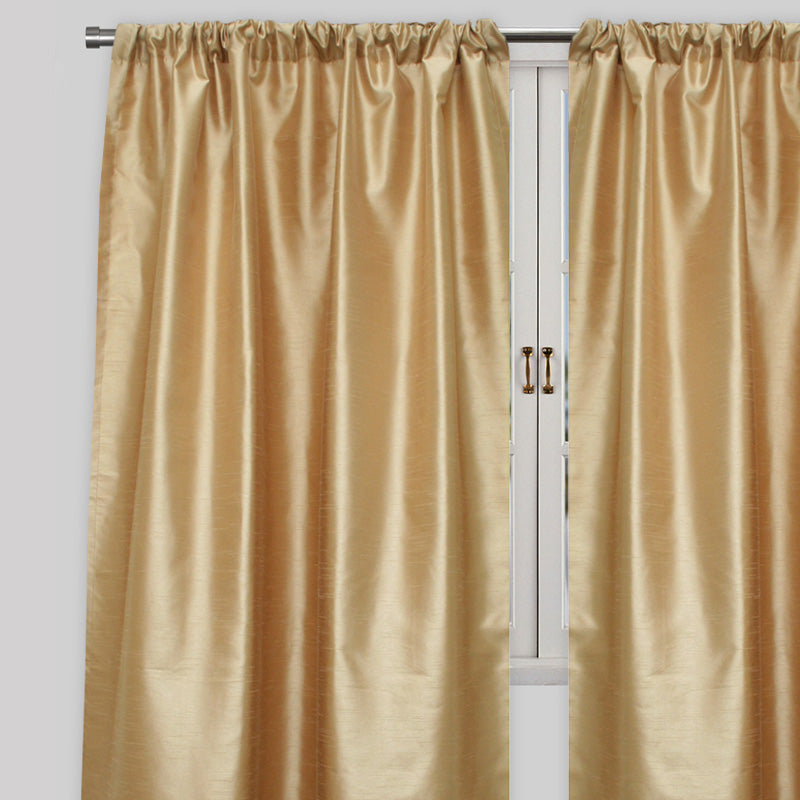 Caprice Set of 2  Solid Curtain Panels | Size 54X96 | Color Straw