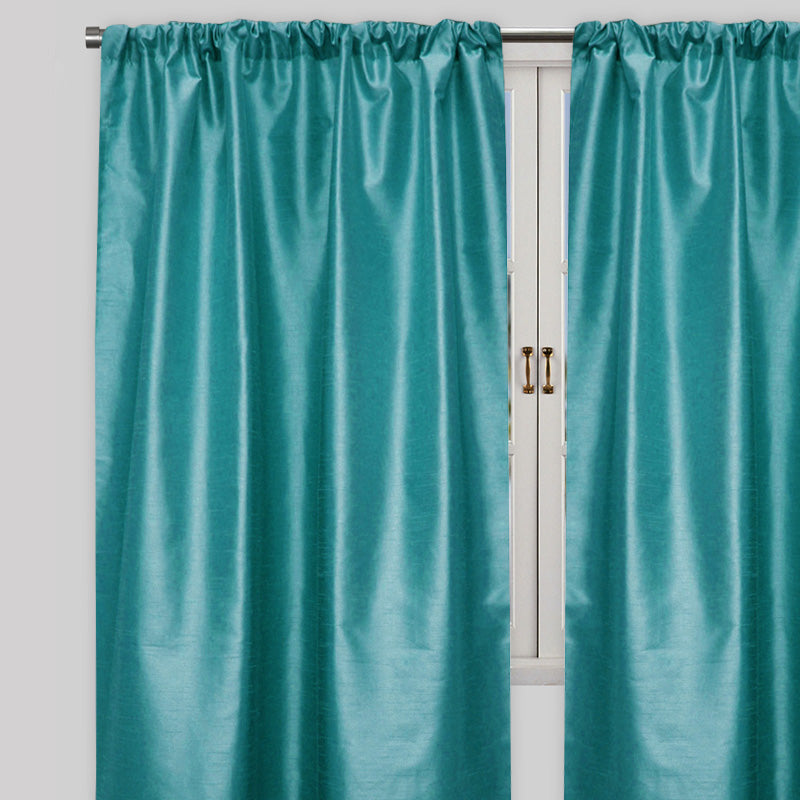 Caprice Set of 2  Solid Curtain Panels | Size 54X96 | Color Cerulean