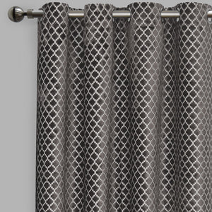 Central Set of 2 Cut Velvet Curtain Panels | Size 54X96 | Color Gray