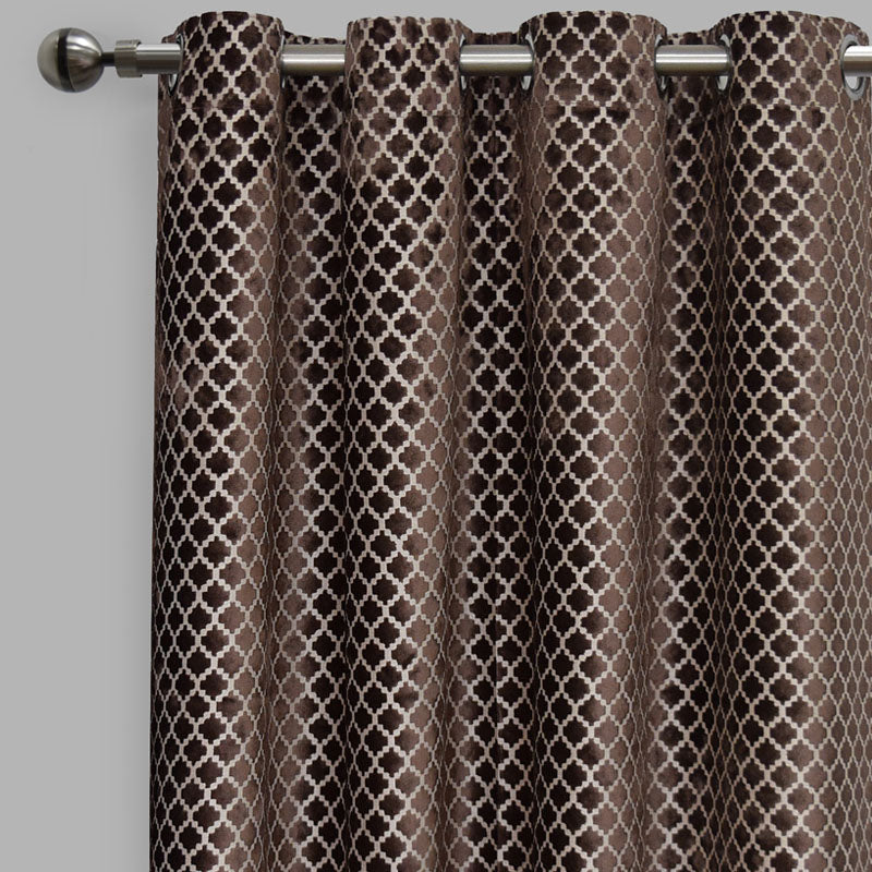 Central Set of 2 Cut Velvet Curtain Panels | Size 54X96 | Color Mocha
