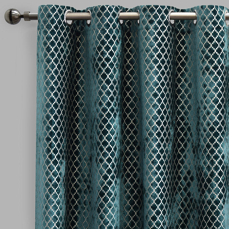 Central Set of 2 Cut Velvet Curtain Panels | Size 54X96 | Color Turquoise