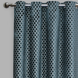 Central Set of 2 Cut Velvet Curtain Panels | Size 54X96 | Color Ocean