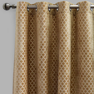 Central Set of 2 Cut Velvet Curtain Panels | Size 54X96 | Color Beige