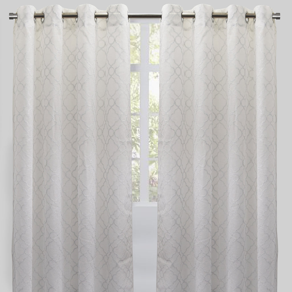 Chamber Set of 2 Embroidered Sheer Curtain Panels | Size 54X96 | Color White