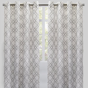 Chamber Set of 2 Embroidered Sheer Curtain Panels | Size 54X96 | Color Silver