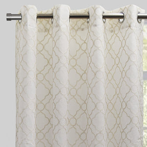 Chamber Set of 2 Embroidered Sheer Curtain Panels | Size 54X96 | Color Ivory