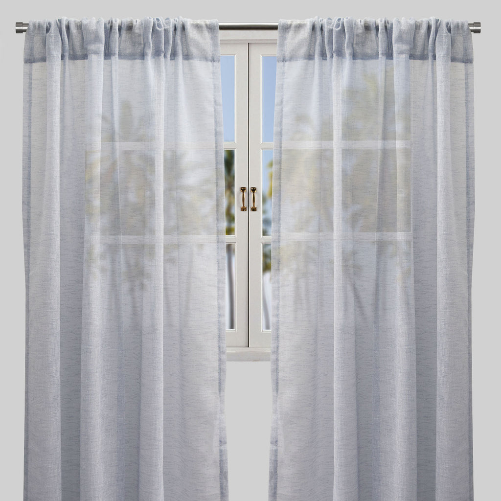 Champion Set of 2 Sheer Curtain Panels | Size 54X96 | Color Sky