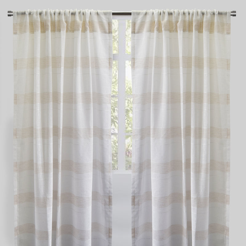 Chiara Set of 2 Sheer Curtain Panels | Size 54X96 | Color Beige