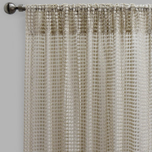 Clover Set of 2 Sheer Curtain Panels | Size 54X96 | Color Ivory