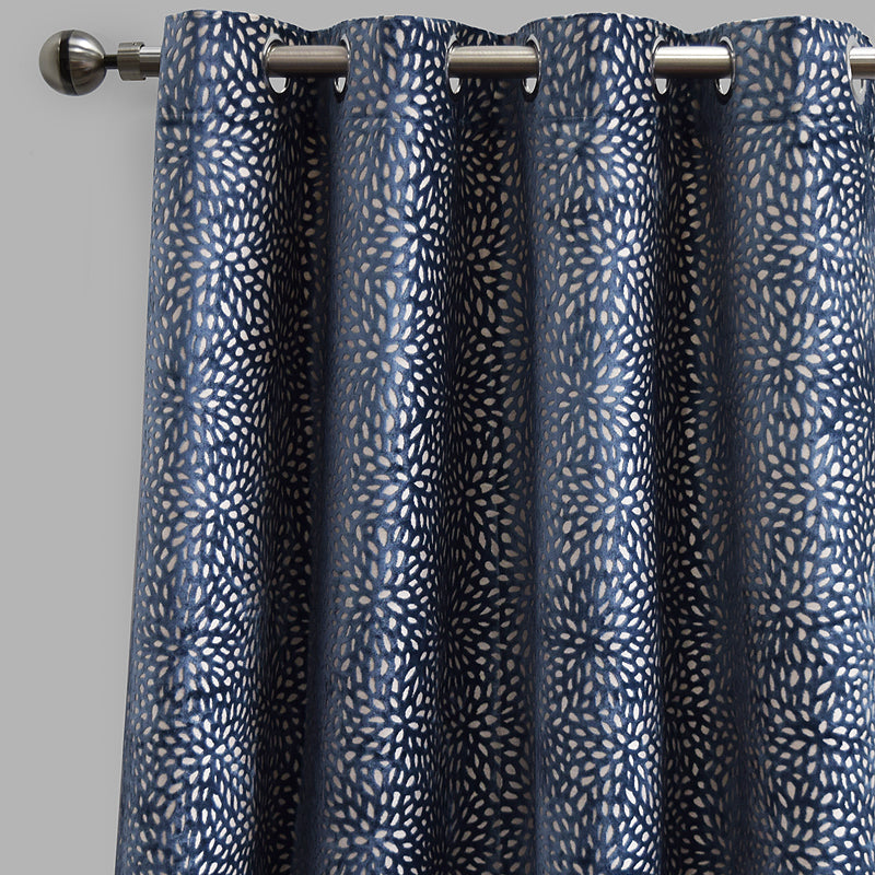 Codes Set of 2 Cut Velvet Curtain Panels | Size 54X96 | Color Ocean