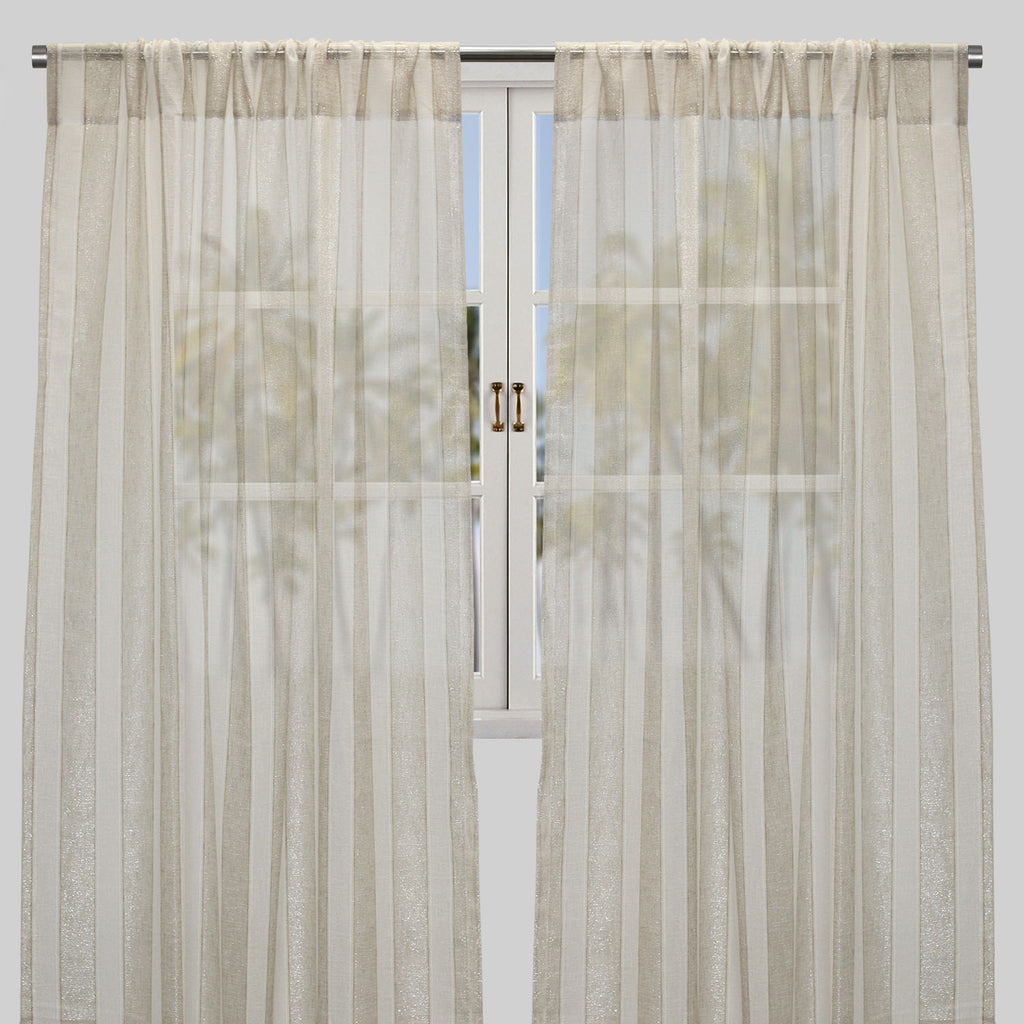 Costello Set of 2 Sheer Curtain Panels | Size 54X96 | Color Beige
