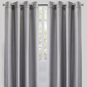 Franco Set of 2 Linen Look Curtain Panels | Size 54X96 | Color Silver