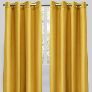 Franco Set of 2 Linen Look Curtain Panels | Size 54X96 | Color Canary