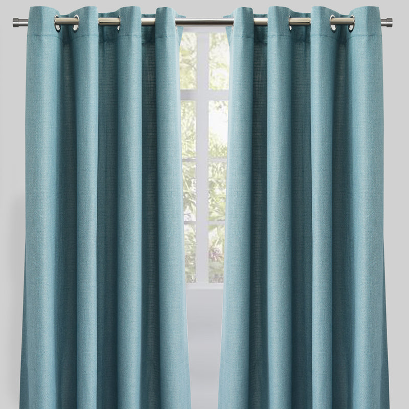 Franco Set of 2 Linen Look Curtain Panels | Size 54X96 | Color Seaspray