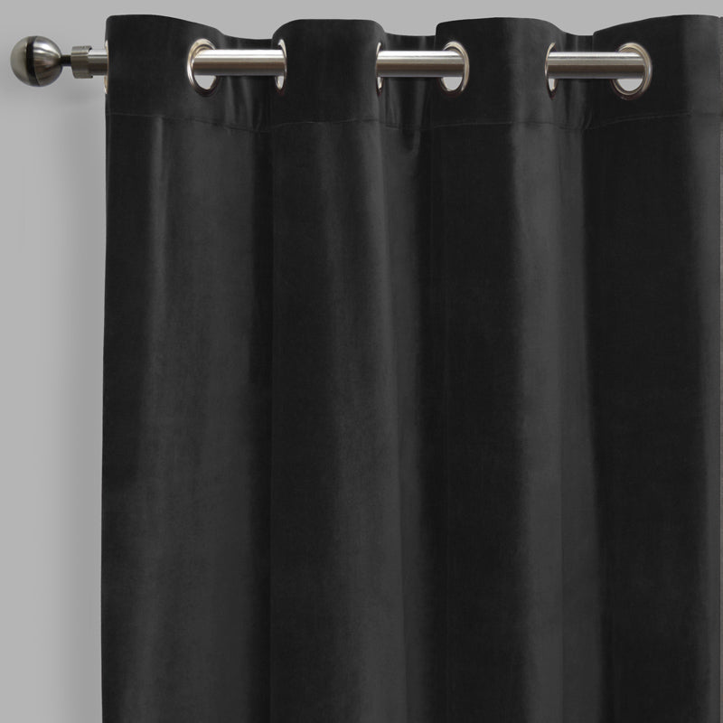 Frank Set of 2 Rich Velvet Curtain Panels | Size 54X108 | Color Black