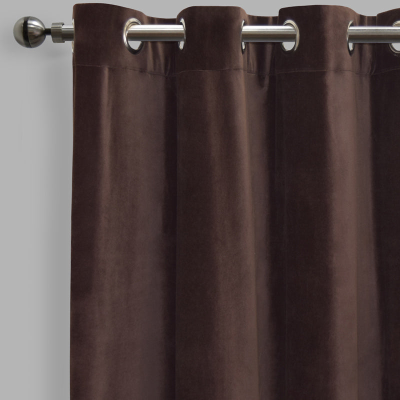 Frank Set of 2 Rich Velvet Curtain Panels | Size 54X108 | Color Espresso