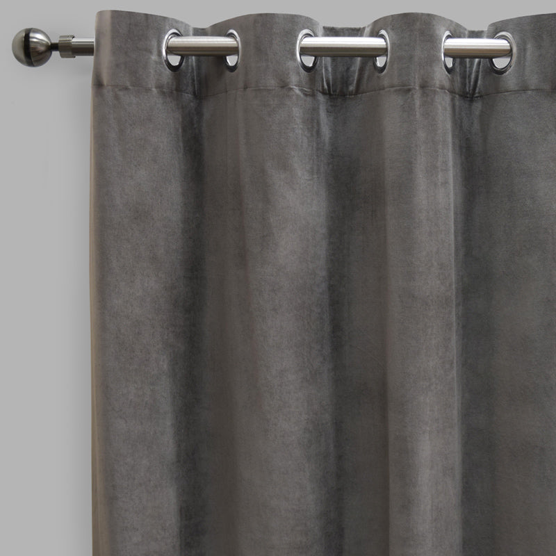 Frank Set of 2 Rich Velvet Curtain Panels | Size 54X108 | Color Gray