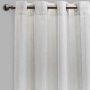 Gabe Set of 2 Linen Look Curtain Panels | Size 54X96 | Color White/Spa