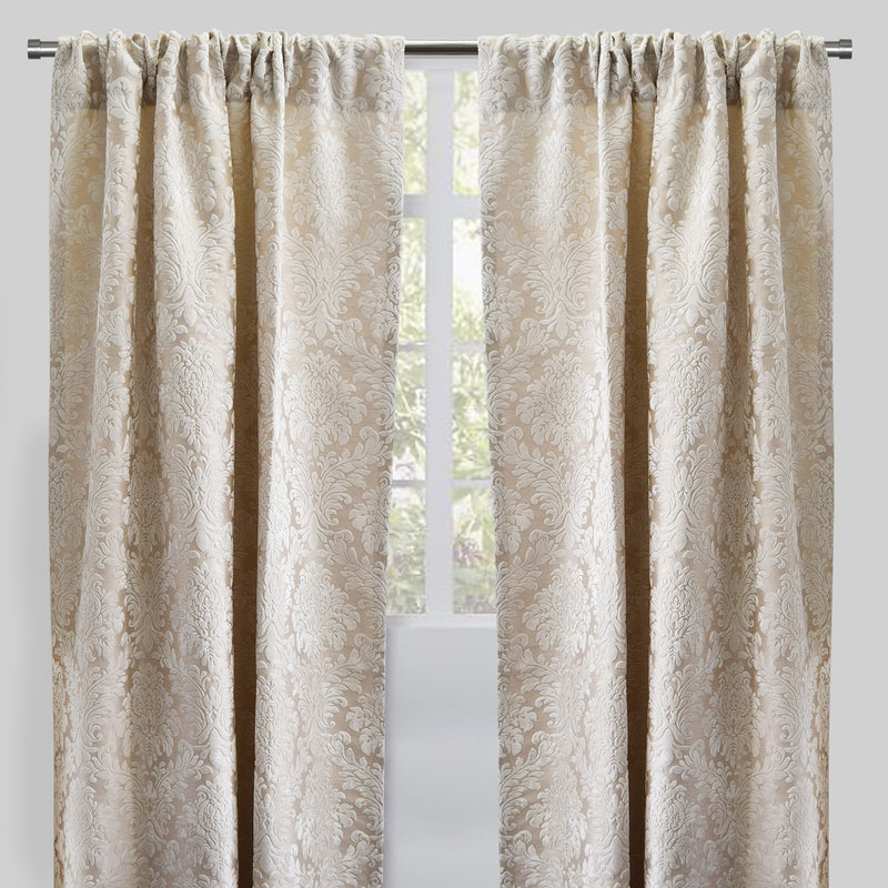 Georgina Set of 2 Cut Velvet Curtain Panels | Size 54X96 | Color White