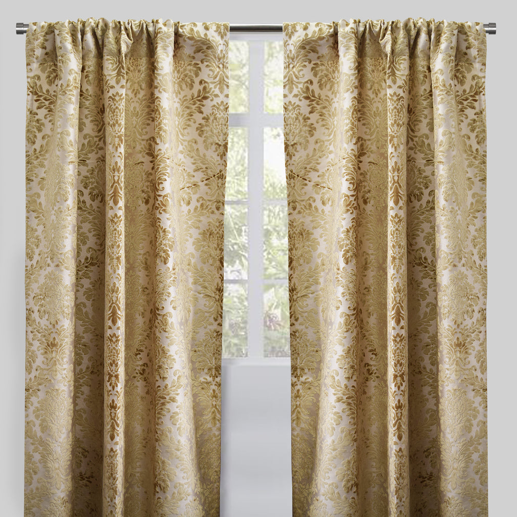 Georgina Set of 2 Cut Velvet Curtain Panels | Size 54X96 | Color Beige