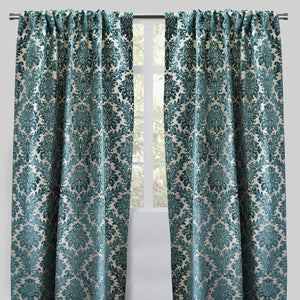 Georgina Set of 2 Cut Velvet Curtain Panels | Size 54X96 | Color Turquoise