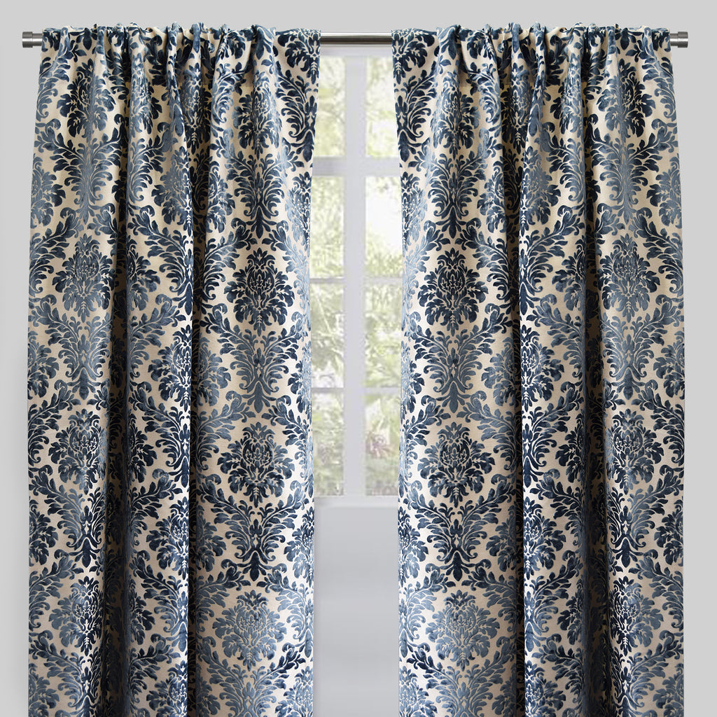 Georgina Set of 2 Cut Velvet Curtain Panels | Size 54X96 | Color Ocean