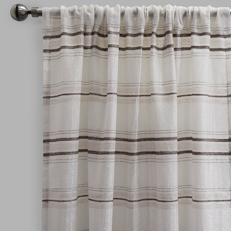 Giorgio Set of 2 Linen Look Curtain Panels | Size 54X96 | Color Silver