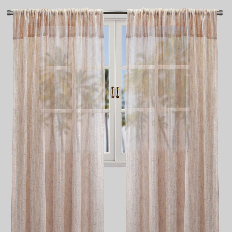 Glow Set of 2 Sheer Curtain Panels | Size 54X96 | Color Blush