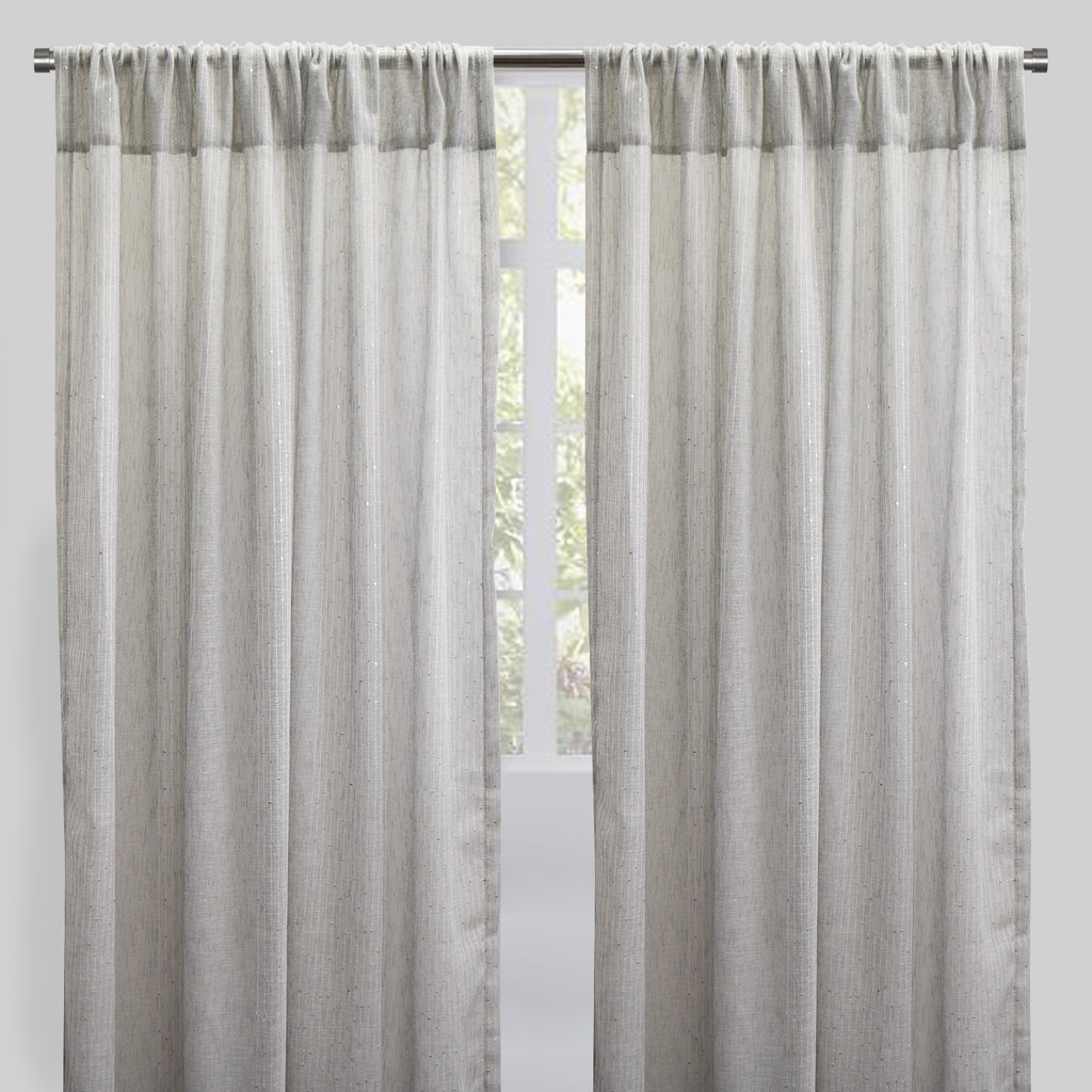 Glow Set of 2 Sheer Curtain Panels | Size 54X96 | Color Silver