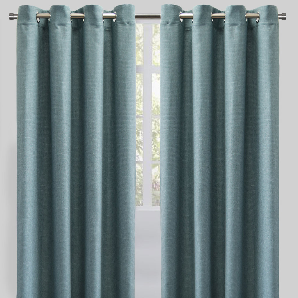 Halsey Set of 2 Linen Look Curtain Panels | Size 54X96 | Color Teal