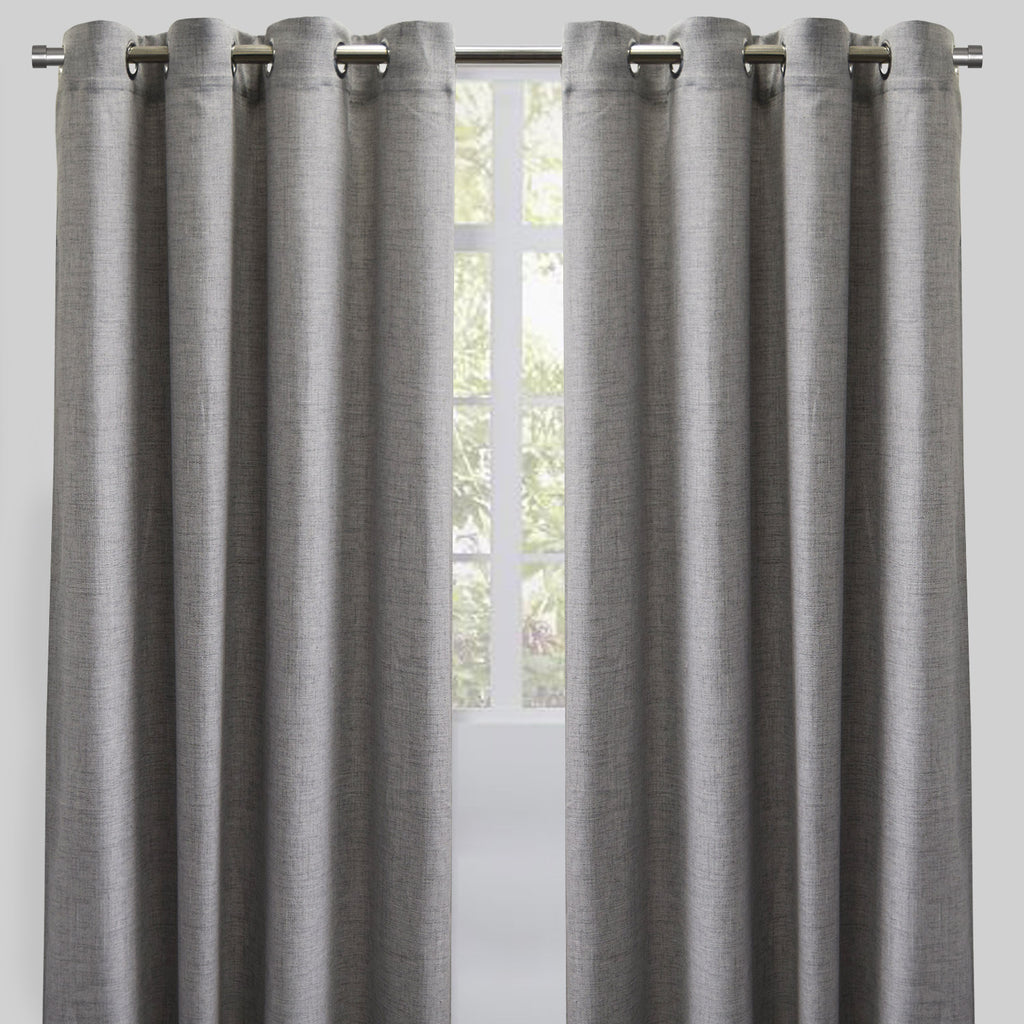 Halsey Set of 2 Linen Look Curtain Panels | Size 54X96 | Color Silver