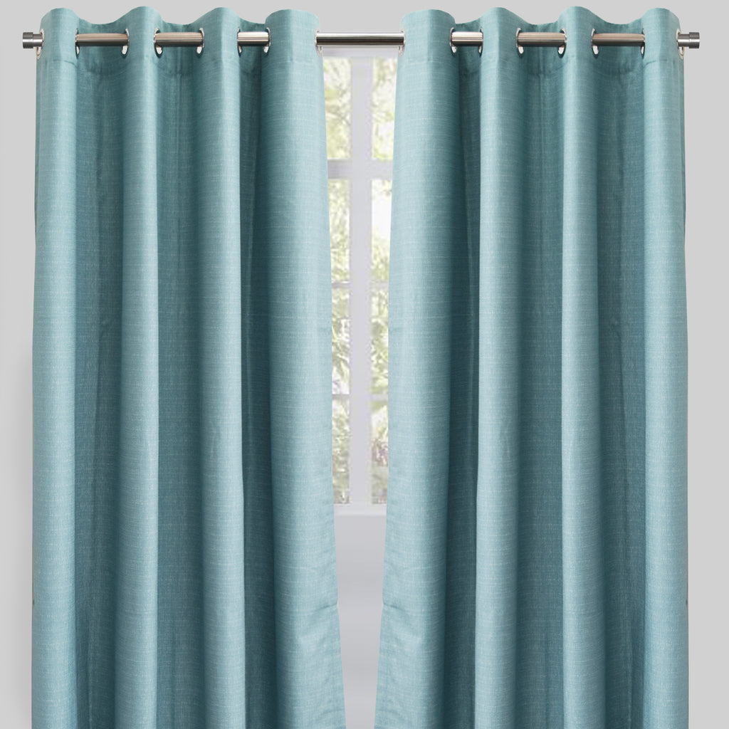 Ilan Set of 2 Room Darkening Sheer Curtain Panels | Size 54X96 | Color Spa