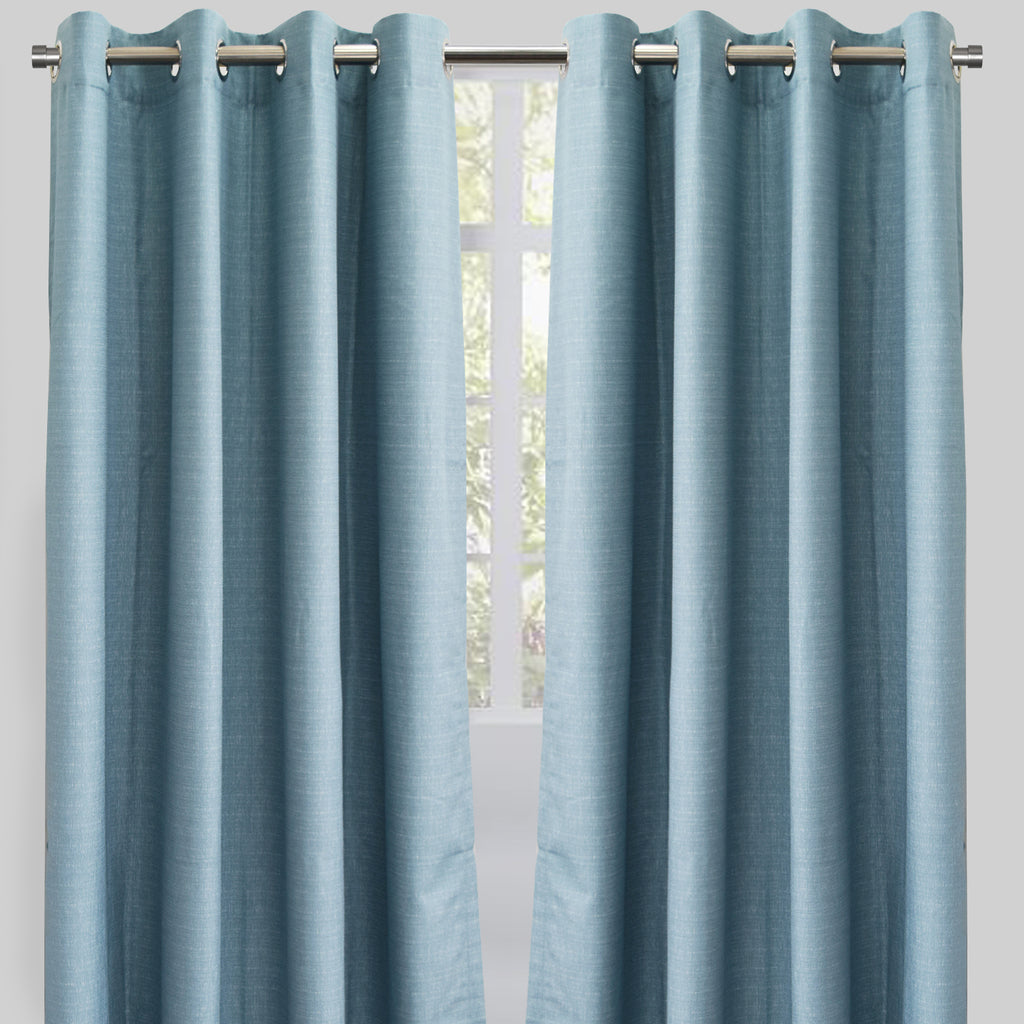 Ilan Set of 2 Room Darkening Sheer Curtain Panels | Size 54X96 | Color Ocean